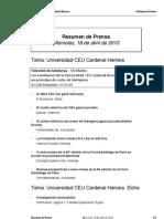 Resumen prensa CEU-UCH 18-04-2012