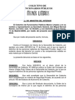 ESCRITO MINISTRO INTERIOR DENUNCIANDO PLACA SEG. PVDA CATALUÑA 13.4