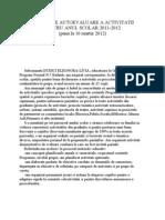 Raport de Autoevaluare a Activitatii Pentru Anul Scolar 2011