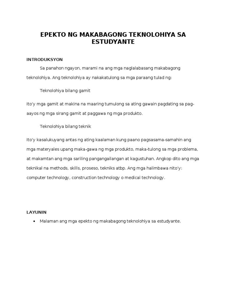 Epekto Ng Makabagong Teknolohiya
