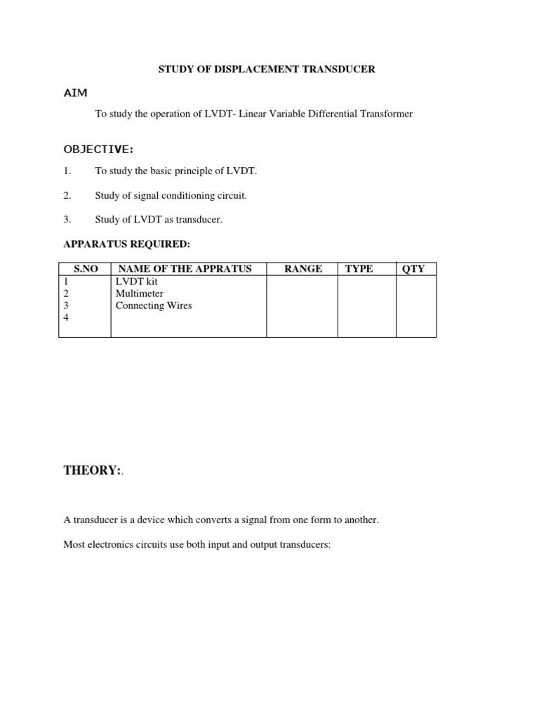 Transducer Transformer Inductor Lvdt Wiring Diagram