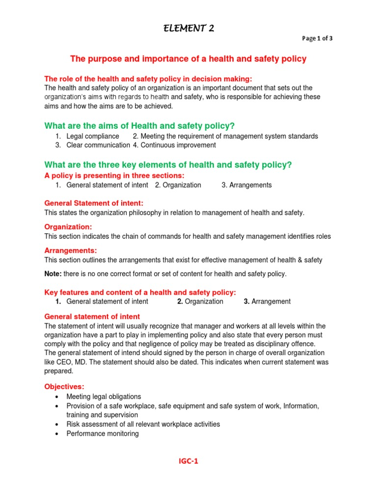 Nebosh IGC Element 2. Policy (Notes) | Occupational Safety And ...