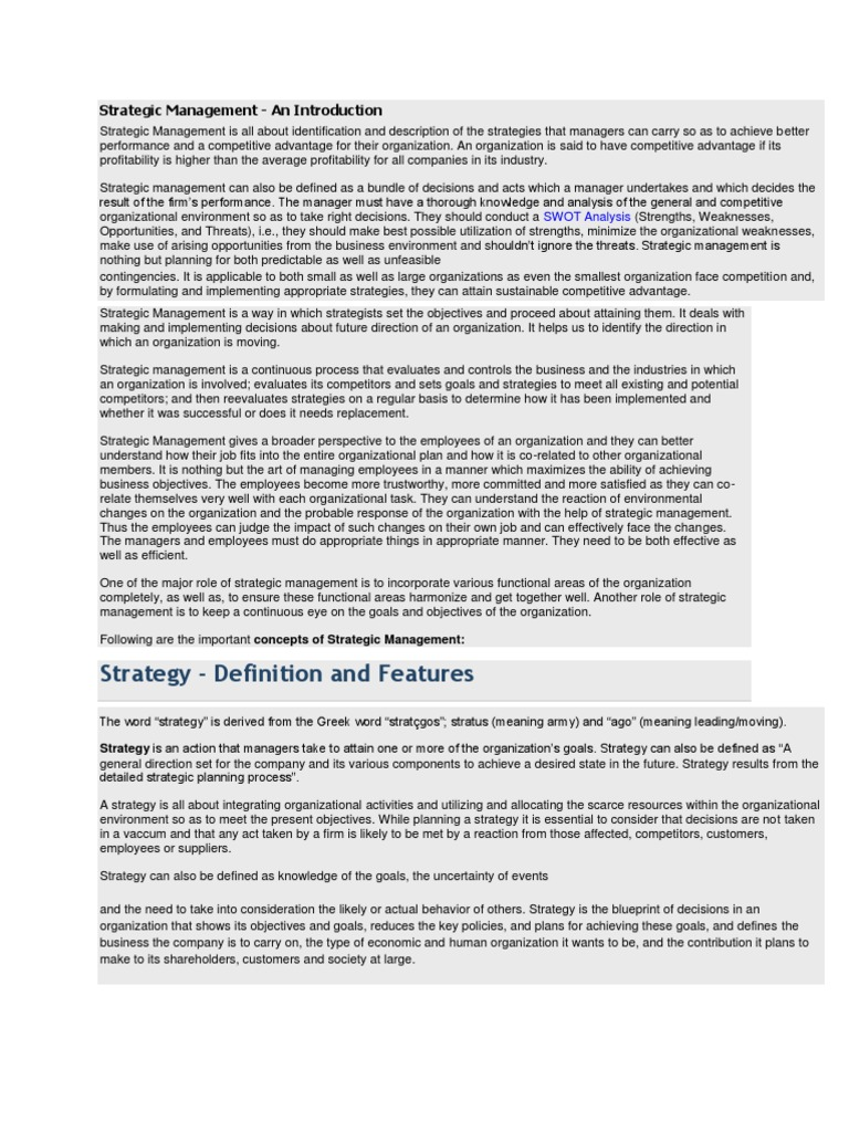 Sm swot analysis strategic management malvernweather Choice Image