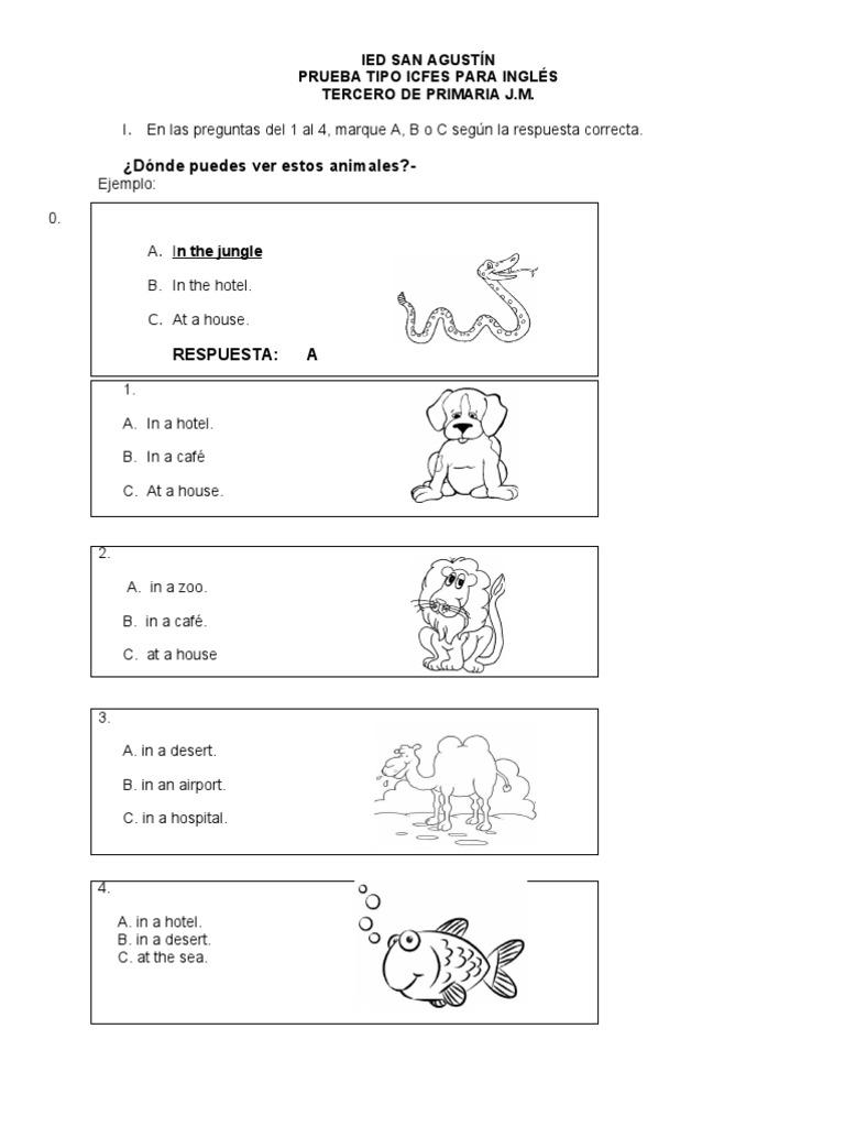 preguntas de inglés tipo icfes para niños