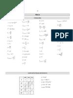 Formulas de física Na Prova UFPR 08