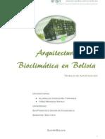 Arquitectura Bio Climatic A en Bolivia-trabajo de Investigacion