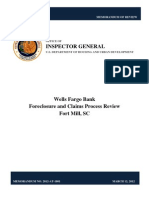 HUD OIG REPORT | WELLS FARGO BANK FORECLOSURE AND CLAIMS PROCESS REVIEW