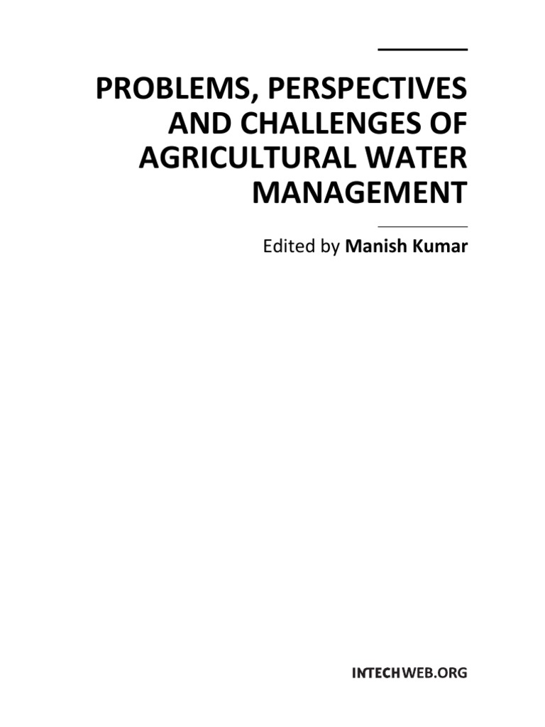 Problems Perspectives and Challenges of Agricultural Water ... on