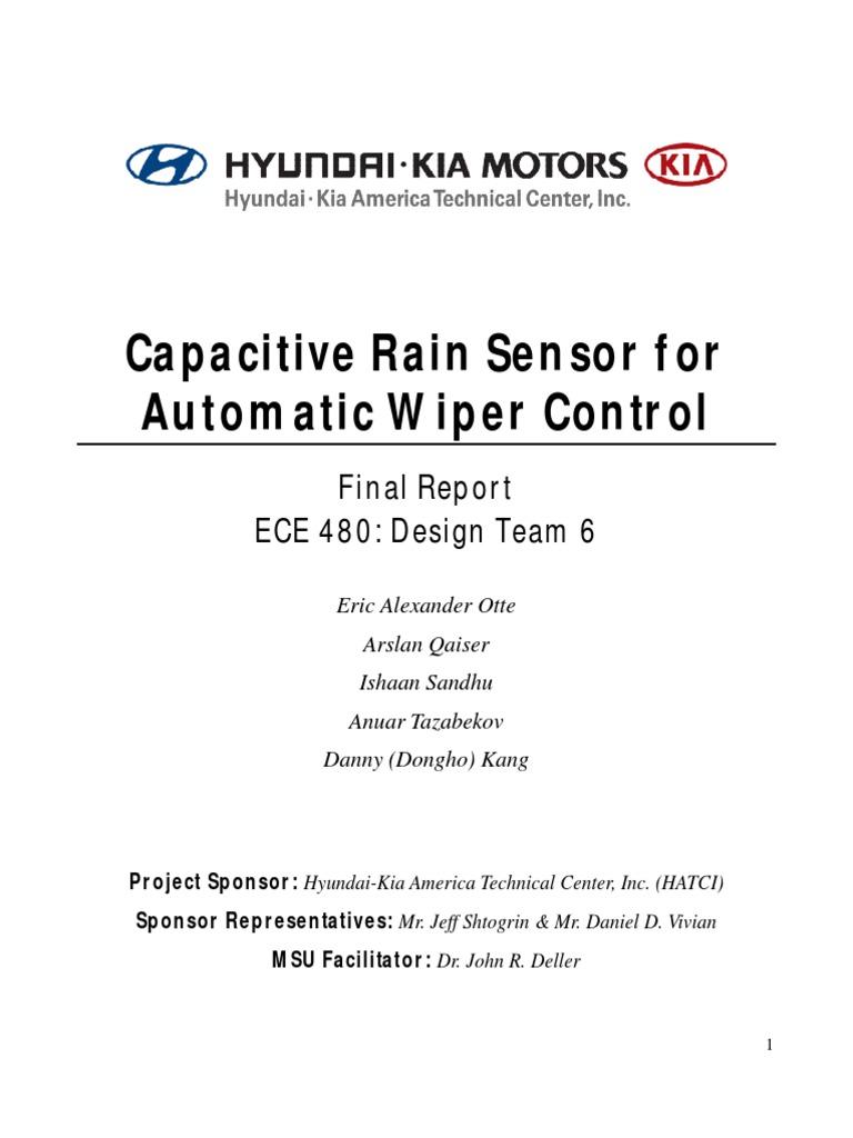 Hyundai Rain Sensor Capacitor Microcontroller Automatic Sensing Windshield Wiper Control Circuit Diagram