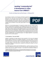 """Implementing """"community-led"""" local development in cities. Lessons from URBACT"""