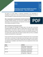 Procedures for conducting Cambridge IGCSE Information Technology (418) practical tests û June 2012 series