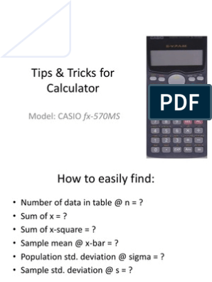 Tips and Tricks for Calculator Casio Fx-570MS