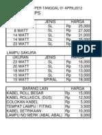 daftar harga lampu