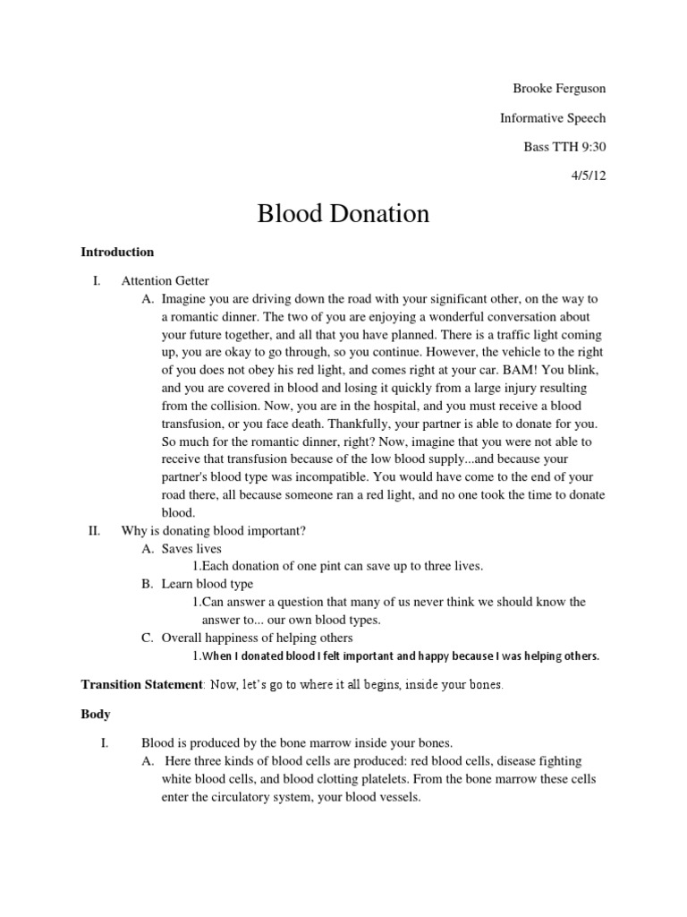 informative sppech outline blood donation blood