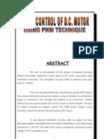 Speed Control of Dc Motor Pwm