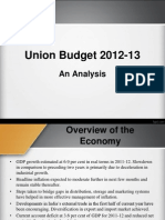 Analysis of Union Budget 2012-13