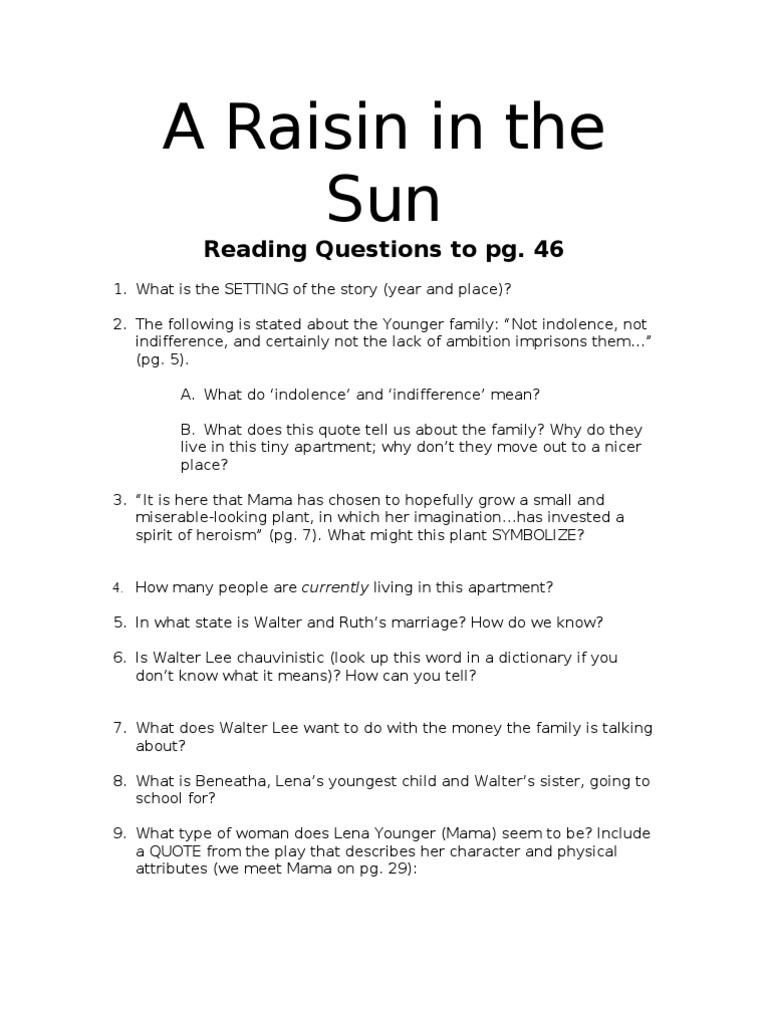 A raisin in the sun reading questions biocorpaavc