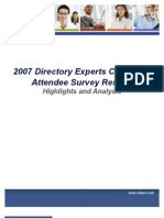 2007 Experts Conference Survey White Paper