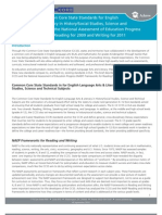 Comparing the Common Core State Standards for English Language Arts & Literacy in History/Social Studies, Science and Technical Subjects and the National Assessment of Education Progress (NAEP) Frameworks in Reading for 2009 and Writing for 2011