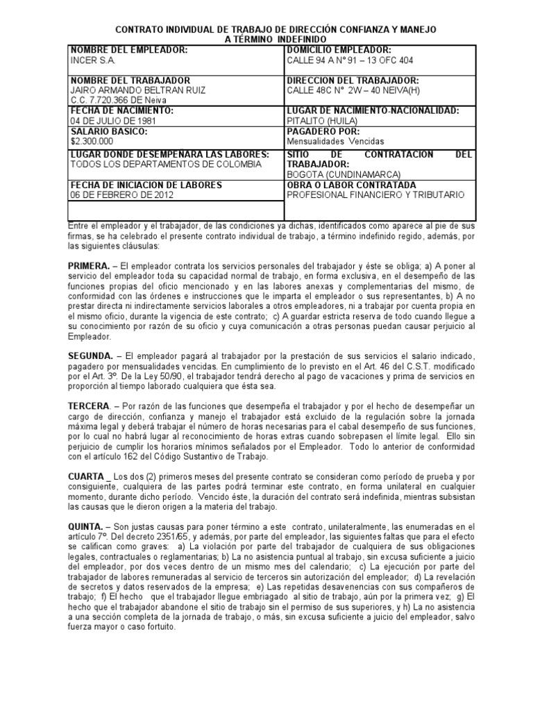 Modelo contrato direccion manejo y confianza a termino for Contrato indefinido ejemplo