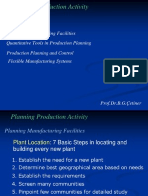 Planning Production Activities | Inventory | Production And