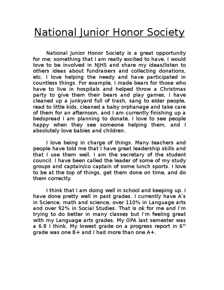 National Junior Honor Society application essay