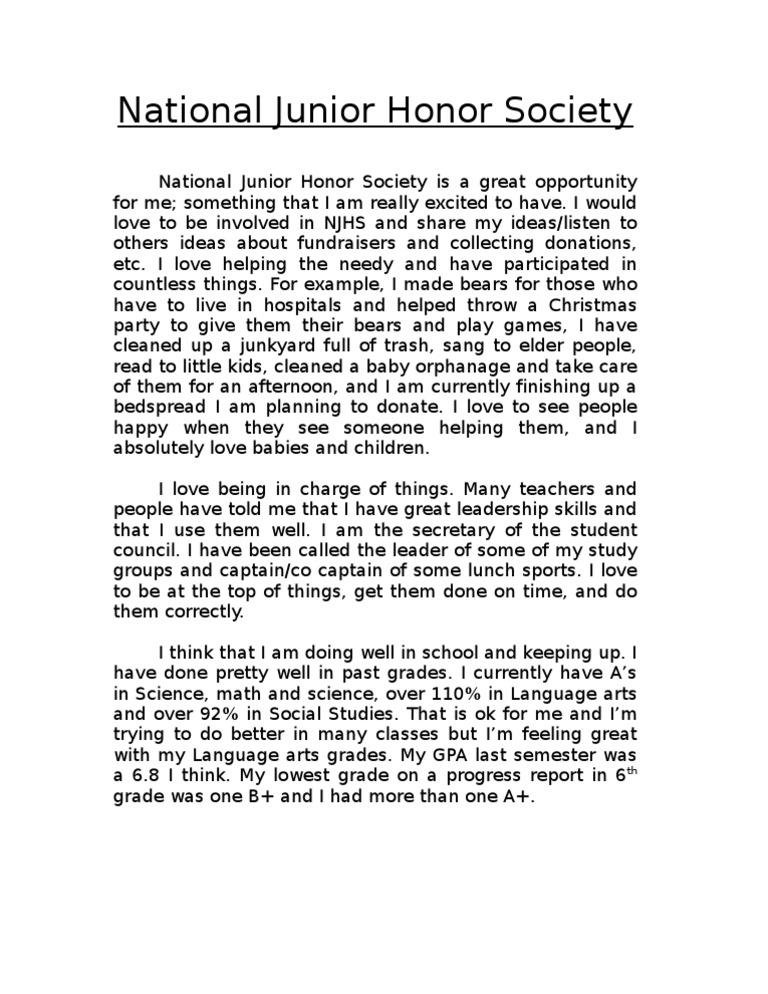 national junior honor society essay