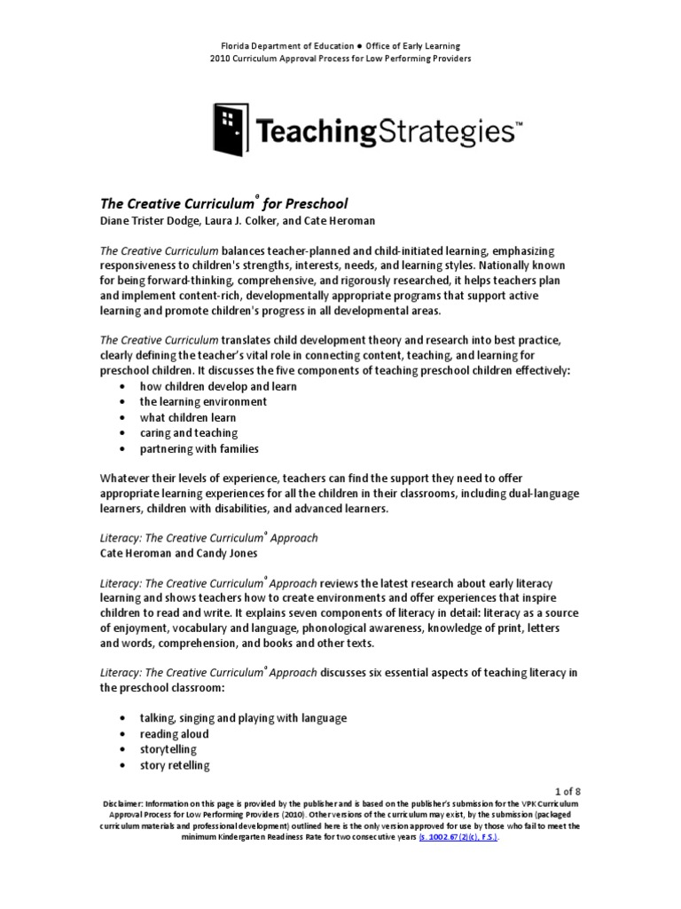 Creative Curriculum | Preschool | Educational Assessment