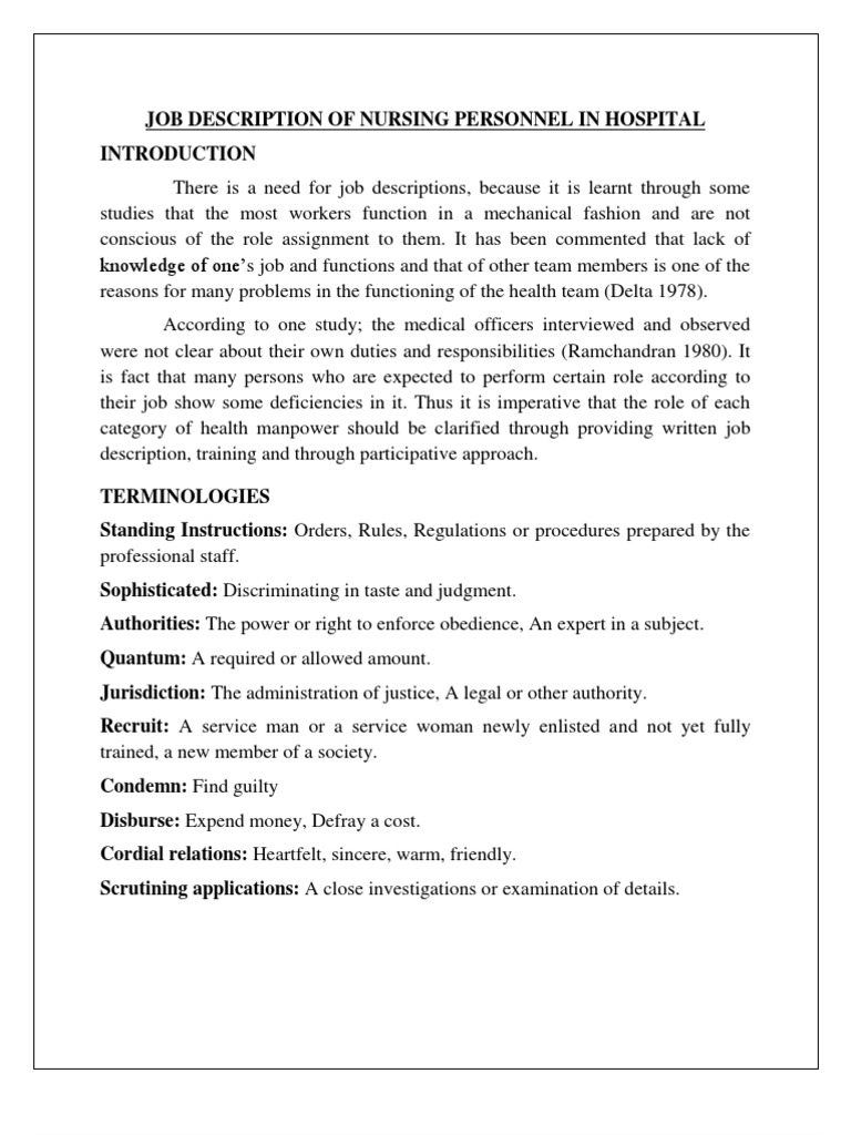 07 Job Description of Nursing Personnel in Hospital – Job Description of an Icu Nurse