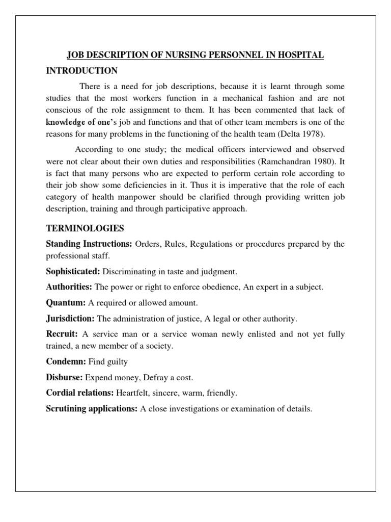 07 Job Description Of Nursing Personnel In Hospital | Nursing | Patient