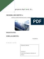 Memoria técnica instalacion fotovoltaica