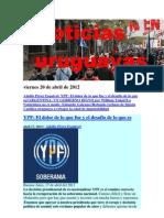 Noticias Uruguayas Viernes 20 de Abril de 2012