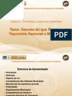 Decreto-Lei que Regula a Toponímia Nacional e Municipal- Eng. José Andrade