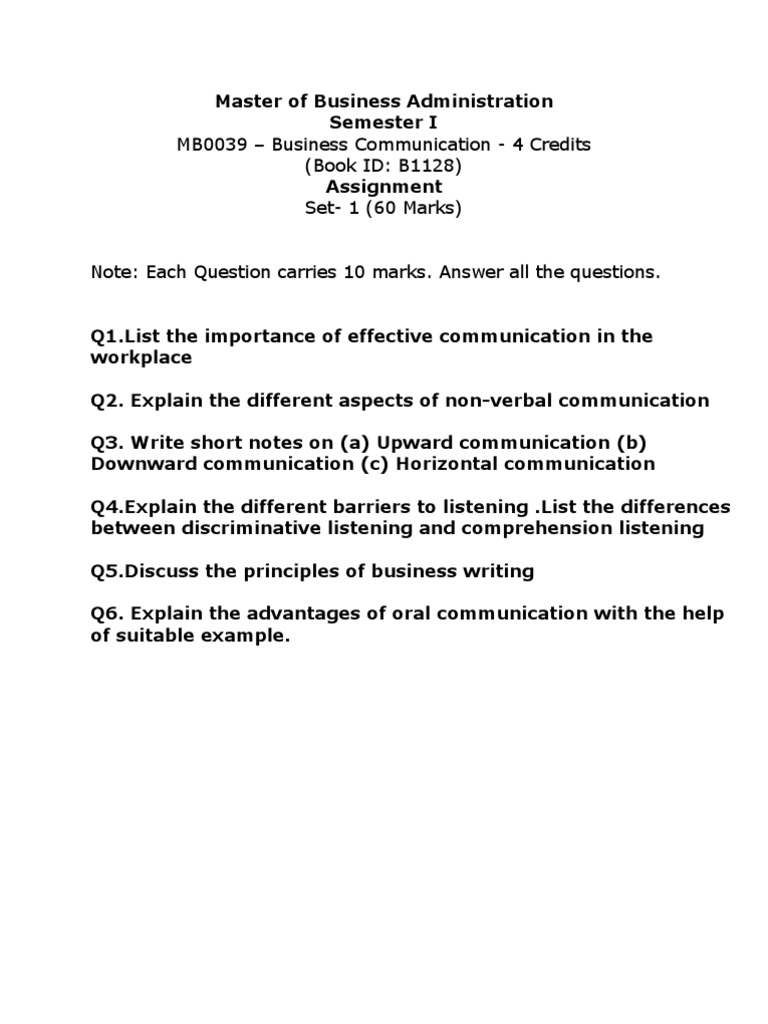 Mba - Assignment- Business Communiction | Nonverbal