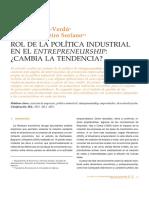 Rol de la política industrial en el entrepreneurship