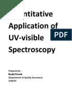 Quantitative Application of UV-Visible Spectroscopy