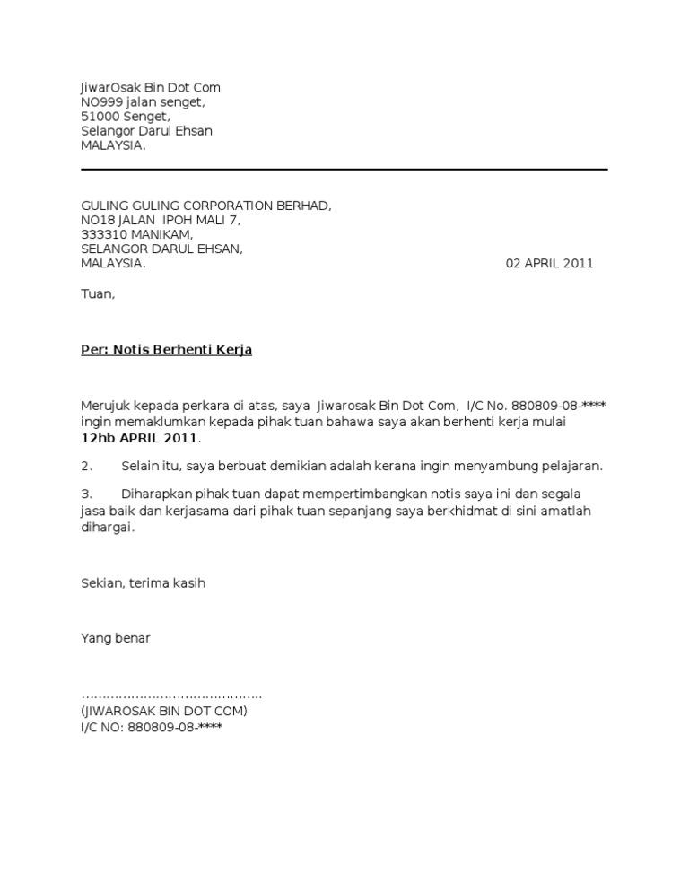 Contoh Surat Berhenti Kerja Notis Sebulan Sebab Sambung Belajar Id Lif Co Id