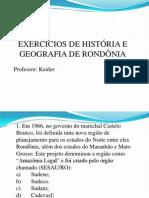 Exercicios de História e Geografia de rondônia