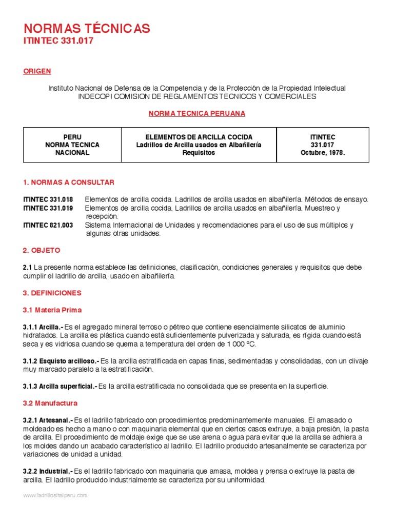 NTP 331.017 1978 - UNIDADES DE ALBAÑILERIA. Ladrillos de ... - photo#14