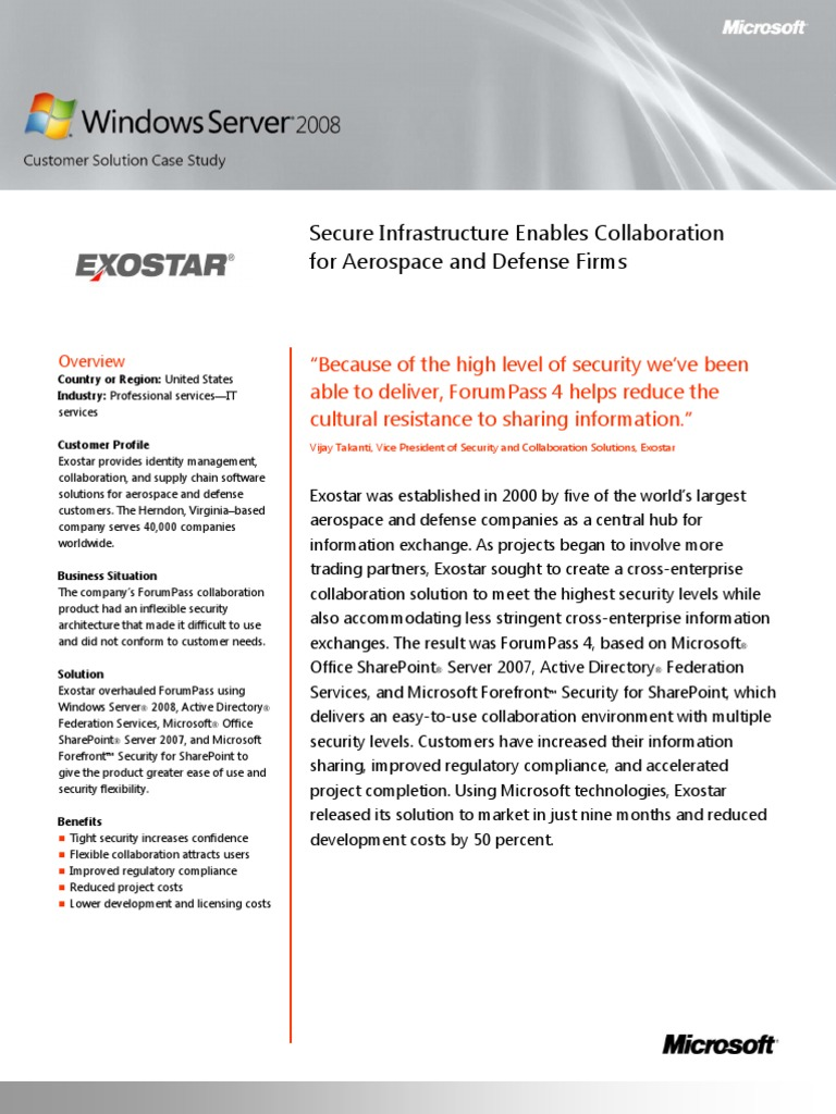 Microsoft Case Study- Exostar Enables Integrated Security