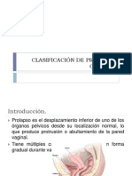 CLASIFICACIÓN DE PROLAPSO GENITAL