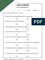 ASEAN CORNER - True or False Quiz # 3