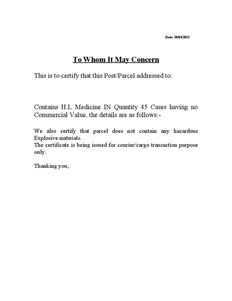 To Whom It May Concern Letter Format India.  Letter for Non Commercial Value