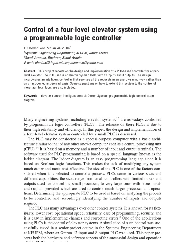 Control Of A Four Level Elevator System Using Plc Programmable Logic Controller Diagram