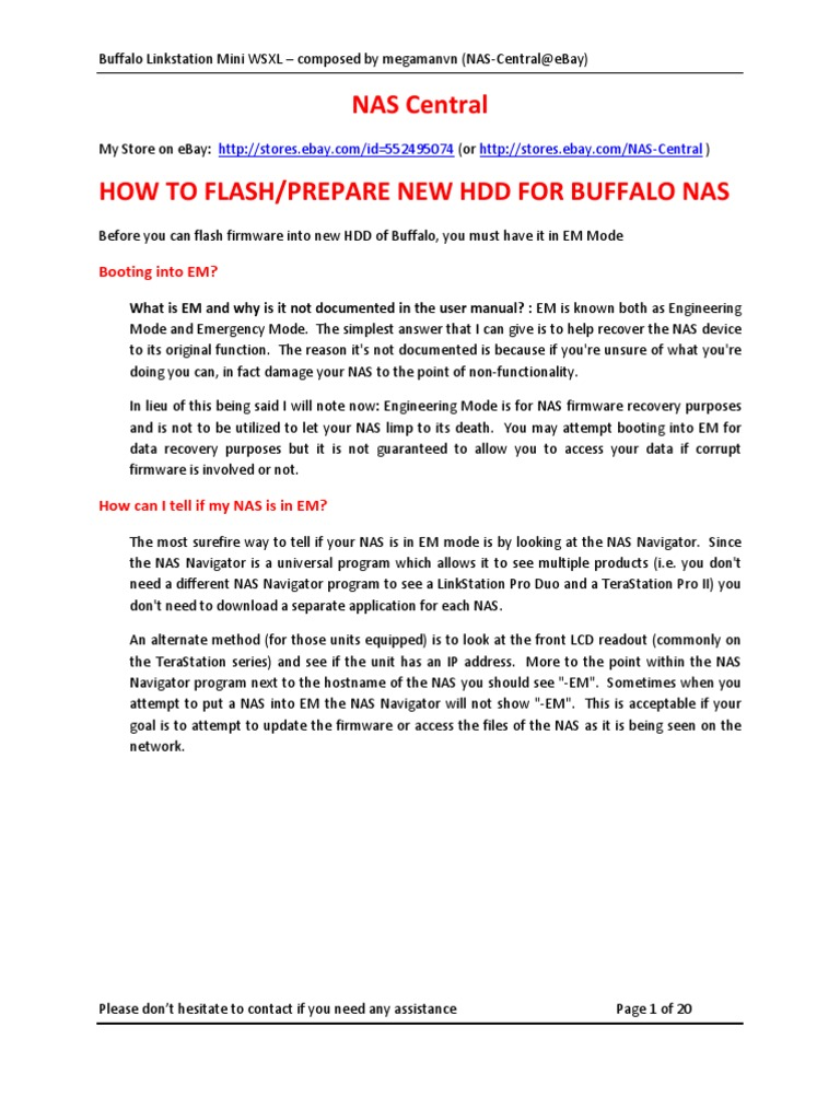 HDD Rebuild Instructions for NAS LS WSXL | Router (Computing