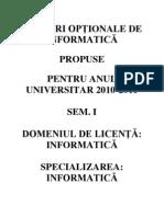CURSURI OPTIONALE INFORMATICA-2010-2011