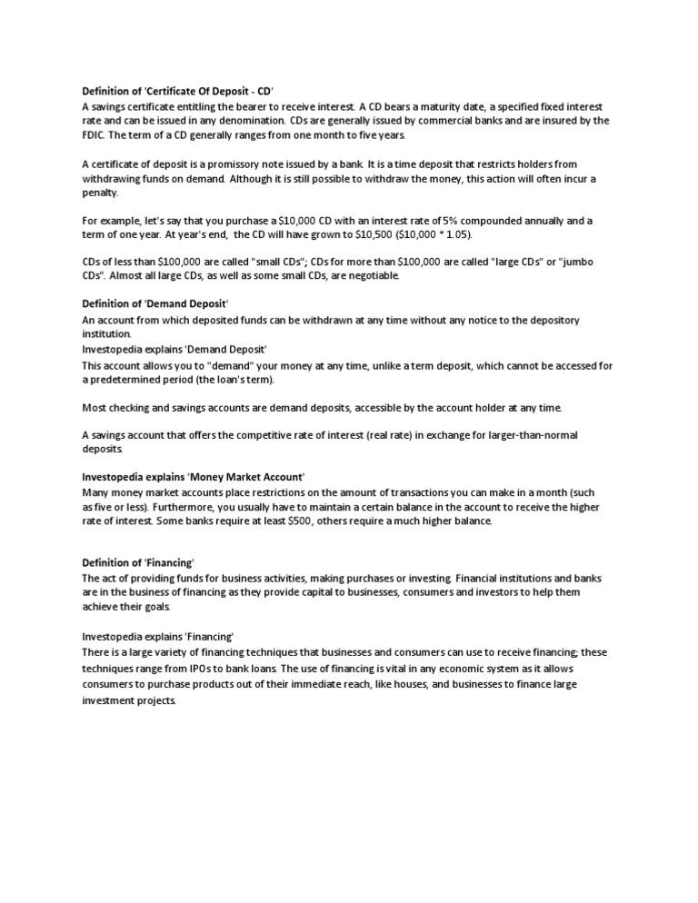 Certificates Of Deposit Definition Gallery - creative certificate ...