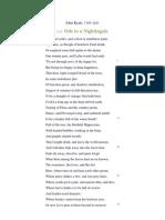 John Keats Ode to Nightingale