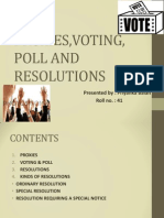 Voting, Poll and Resolutions