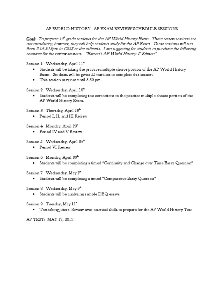 AP World History Exam Review Sessions (1)